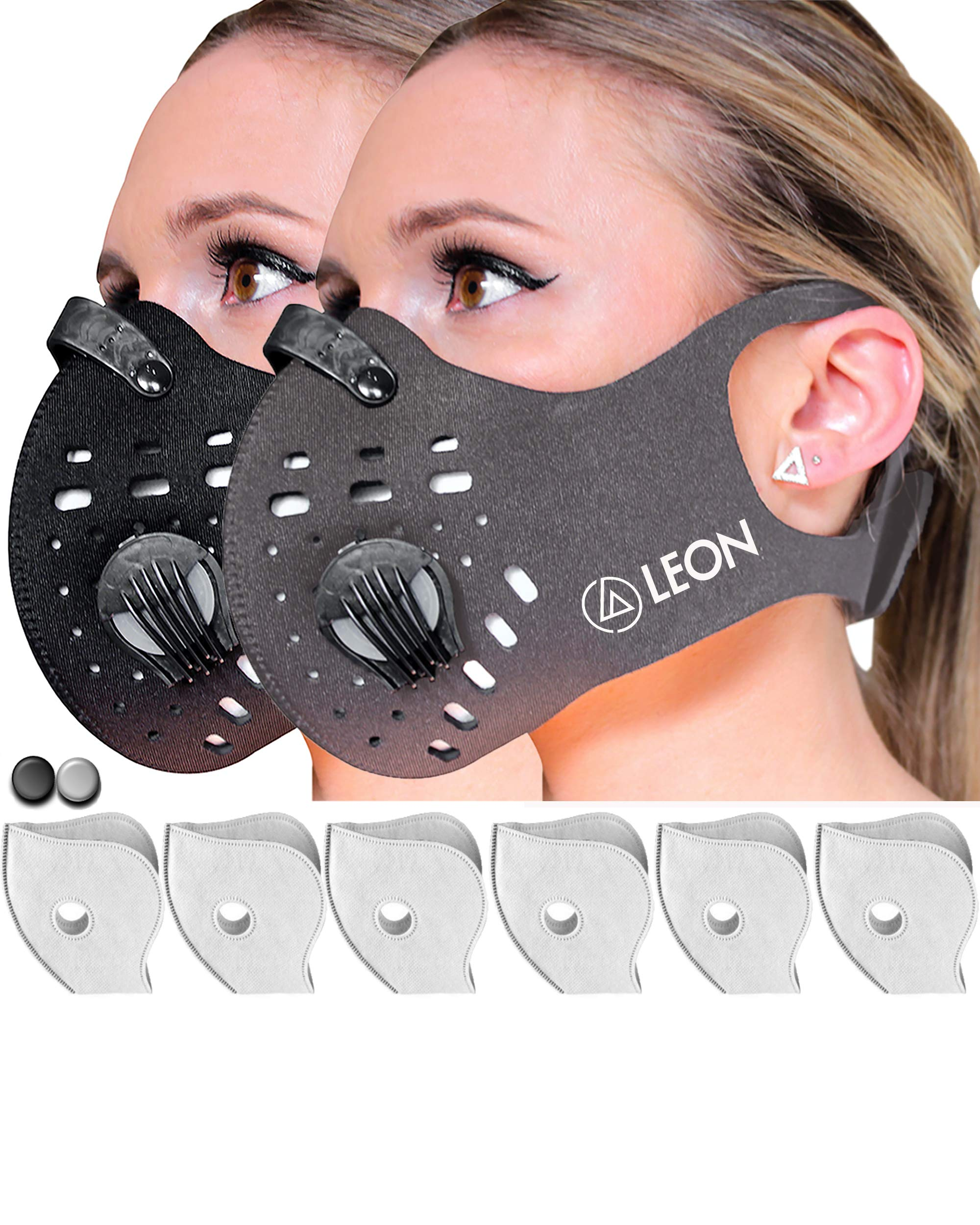 (1Black&1Grey) Leon N99 Dust Masks with 6 Carbon Activated Filters | Reusable Washable Anti Dust Mask | Non Slip Safety Mask | Dustproof Anti Pollution Smoke | Mowing Woodworking Allergy by Reformul8
