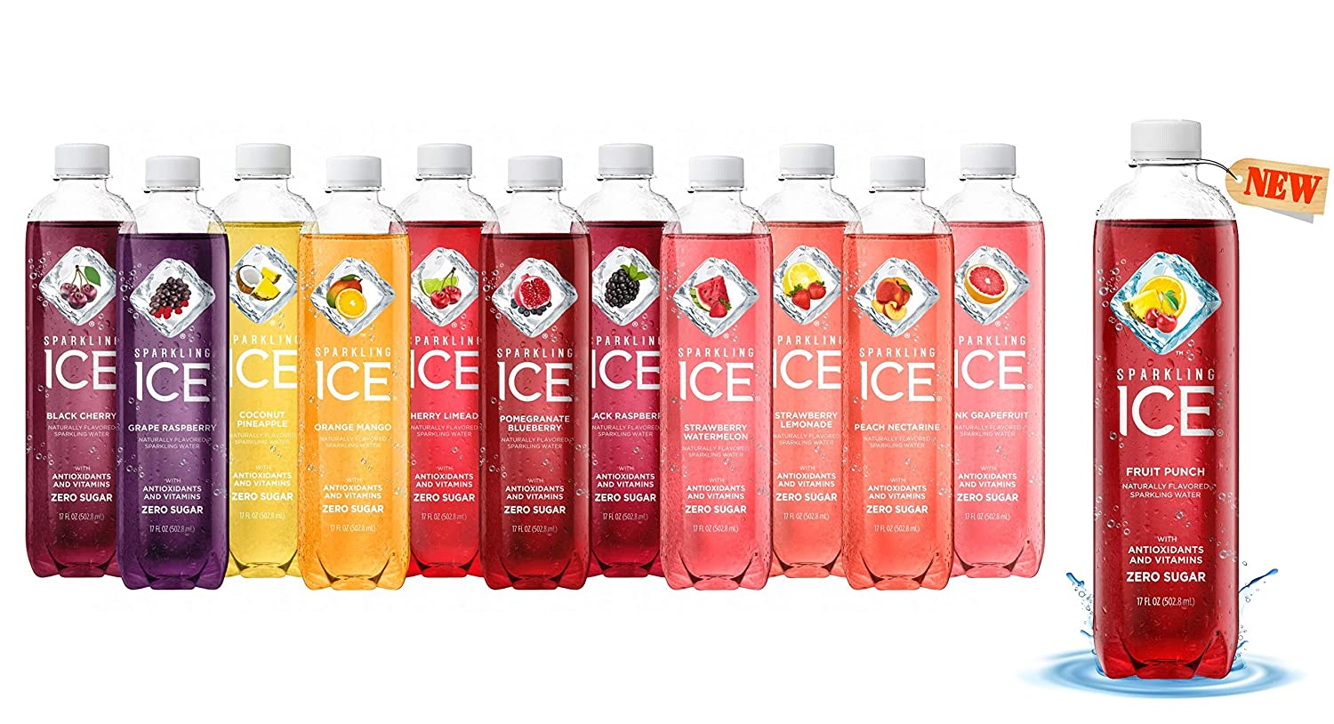 Sparkling ICE Sparkling Water | 12 Flavor Variety Pack (Sampler) - 17 Fl Oz Bottles, Naturally Flavored Sparkling Water with Antioxidants & Vitamins | Pack Of 12