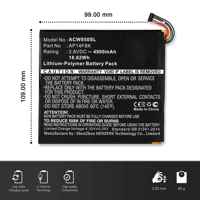 sustituci/ón AP14F8K bateria de Repuesto subtel/® Bater/ía Premium Compatible con Acer Iconia Tab 8 A1-850 // Iconia One 8 B1-820 // B1-830 // Predator 8 4900mAh Pila reemplazo
