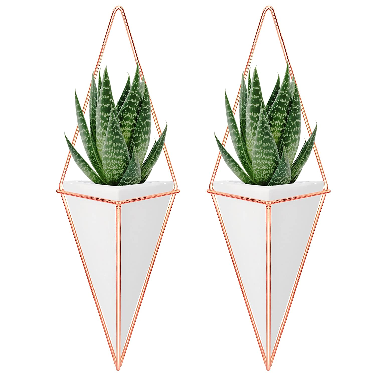 Amazoncom Nellam Ceramic Planter Set  2 Pcs Modern Geometric