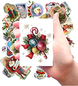 """Large Stickers (Each Sticker 2.5""""x3.5"""", Pack 24 pcs) Vintage Christmas Pictures FLONZ Illustrations Drawings"""