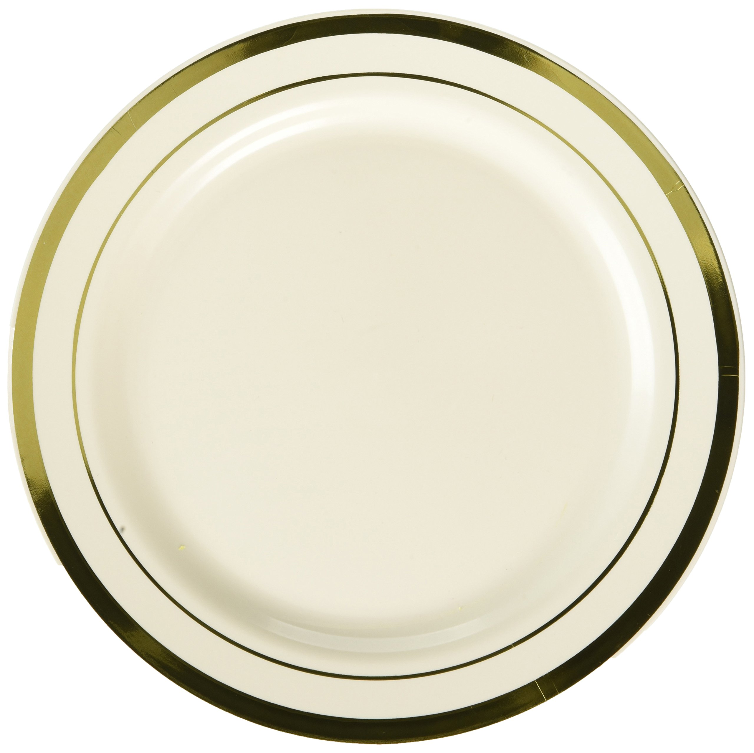 Amscan Elegant Premium Plastic Round & Reusable Dishware Cream with Gold Trim 7'' Pack Party Supplies (120 Piece), 7 1/2'' 20 Ct by Amscan