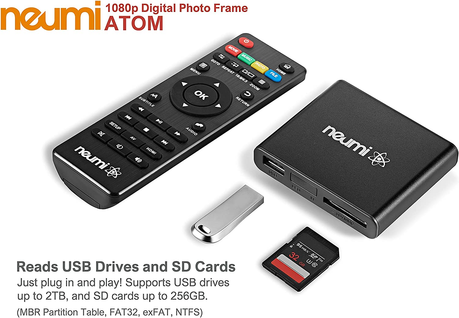 NEUMI Atom 1080P Full-HD Digital Media Player for USB Drives and SD Cards with HDMI and Analog AV Automatic Playback and Looping Capability
