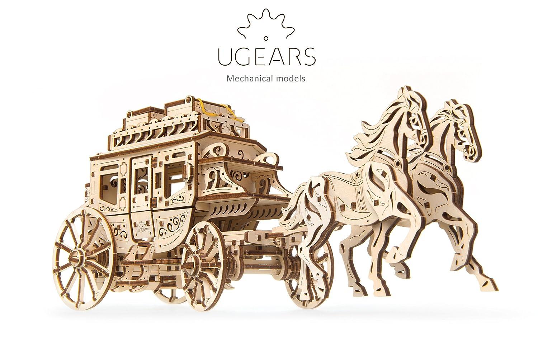UGEARS 70045 Históricos Post Carruaje DIY Maqueta de Mecanismo de fácil y Amplia de – Bella y Original geschnitzte Post Carruaje de Caballos 248 Compartir 3D Puzzle de Madera Modelo Diseño Set