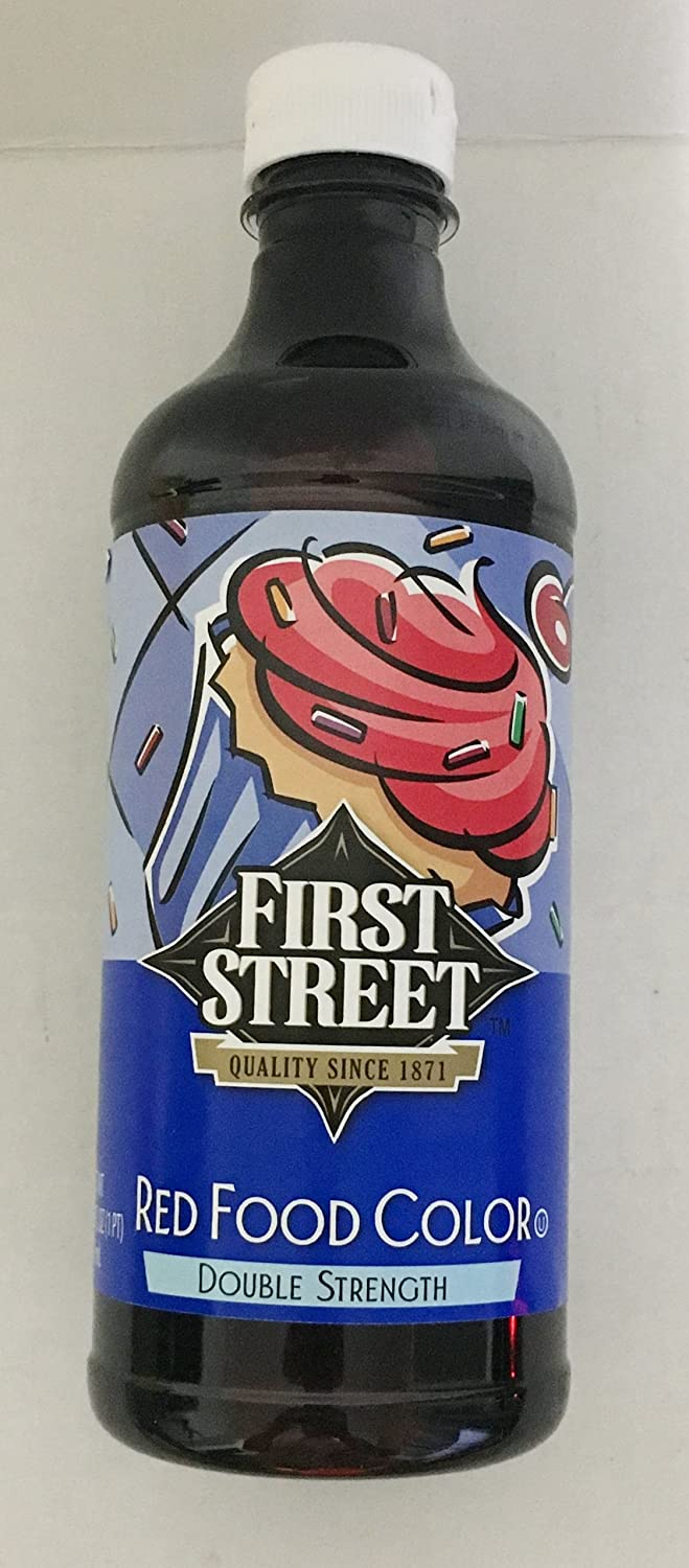 16oz Red Food Color Double Strength by First Street (One Bottle Per Order)