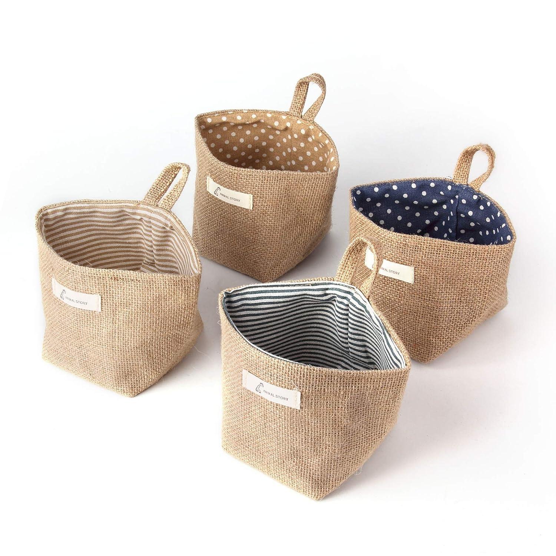 Color as Shown Sansheng 4PCS Wall-Hanging Storage Bags Hanging Storage Bags Cotton Linen Storage Basket Foldable Wall-Hanging Basket Family Organizer Box Decorative Bag