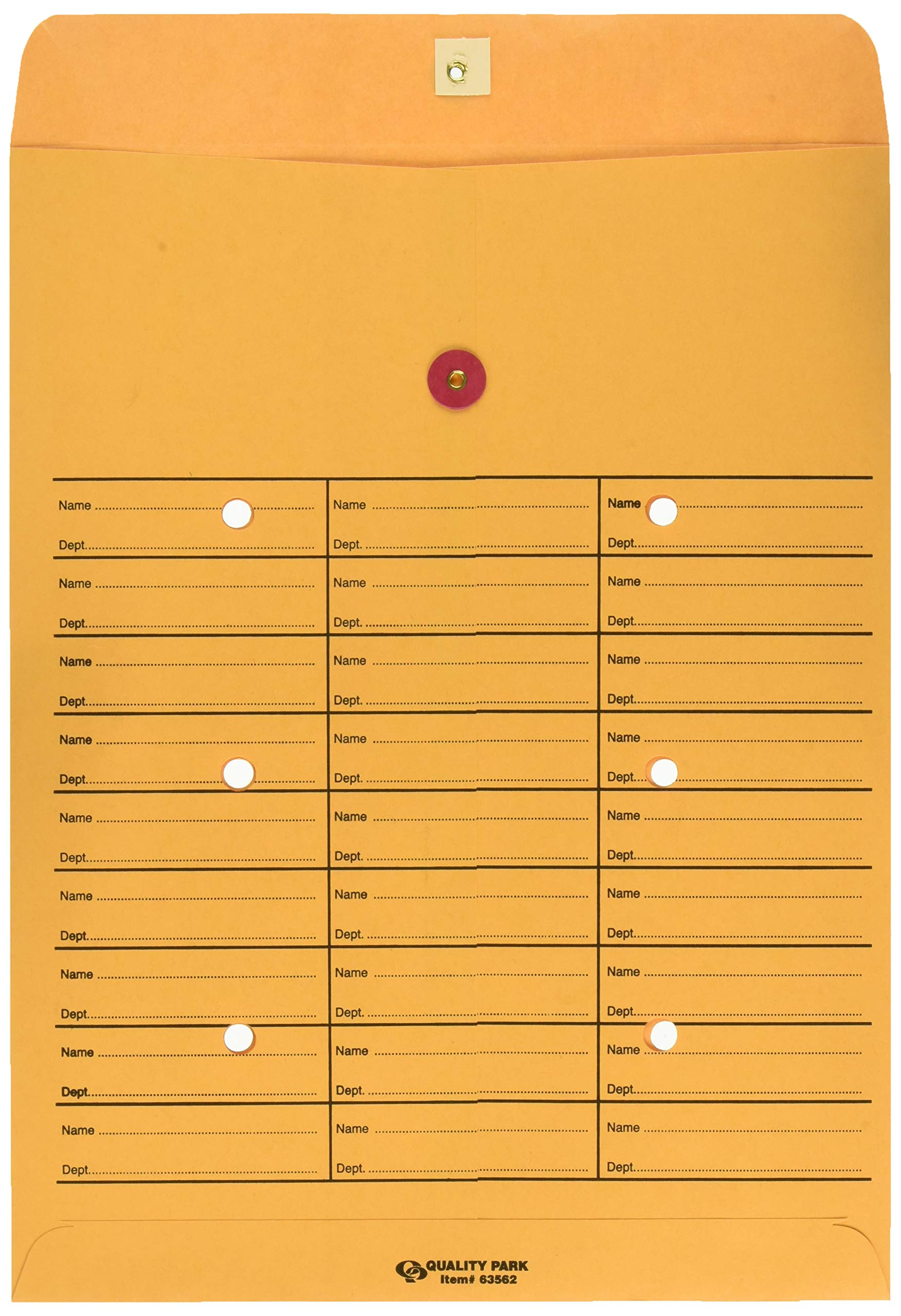 Inter-Departmental Envelopes, 3-Across, String/Button Closure, 10''x13'', 100/Box QUA63562 by Quality Park