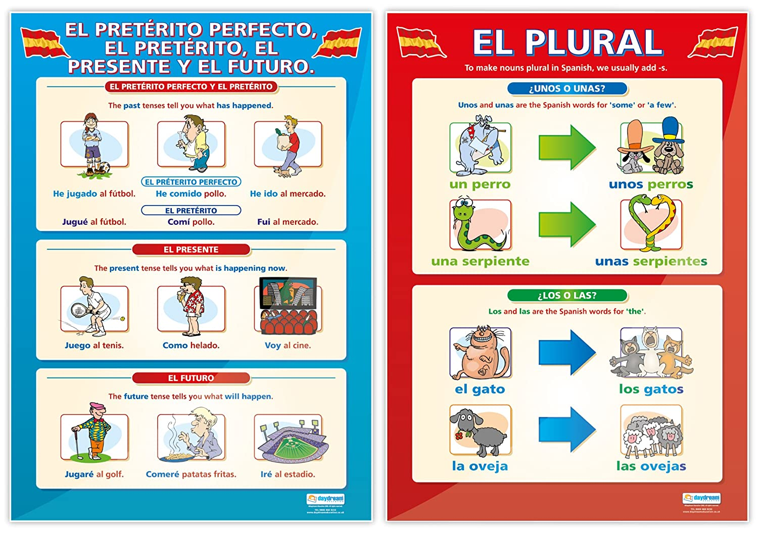 Amazon.com : Spanish Basics - Set of 8 Spanish Posters | Classroom Posters for Spanish | Gloss Paper measuring 33