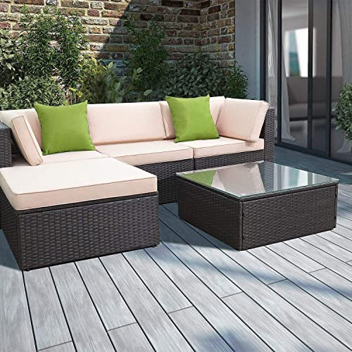 Devoko Patio Furniture Sets 5 Pieces Outdoor Sectional Sofa Wicker Rattan Patio Sofa Sets with Cushion and Glass Table Tea Green Pillow