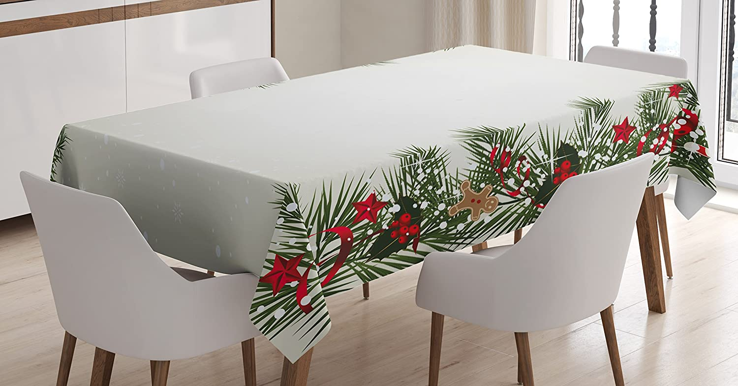 Ambesonne Christmas Tablecloth, New Year's Eve Tree Branch Border with Berry Ribbons Gingerbread Man, Rectangular Table Cover for Dining Room Kitchen Decor, 60