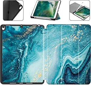 Dongke Case with Pencil Holder for iPad Pro 10.5 Case/iPad Air 3 Case 2019 (3rd Generation), Slim Shell Abstract Marble Pattern Series Lightweight Soft TPU Back Smart Stand Cover (Auto Wake/Sleep)