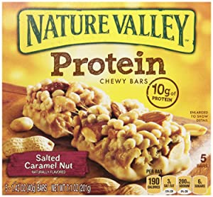 Nature Valley, Protein, Salted Caramel Nut Chewy Bar, 7.1oz Box (Pack of 4)