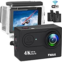 """4K Action Camera, 16MP WiFi Ultra HD Waterproof Sports Cams 30M Waterproof 2"""" LCD 170° Wide Angle Underwater Cameras with 28 Accessories Kits and 2 Batteries 1050mAh"""
