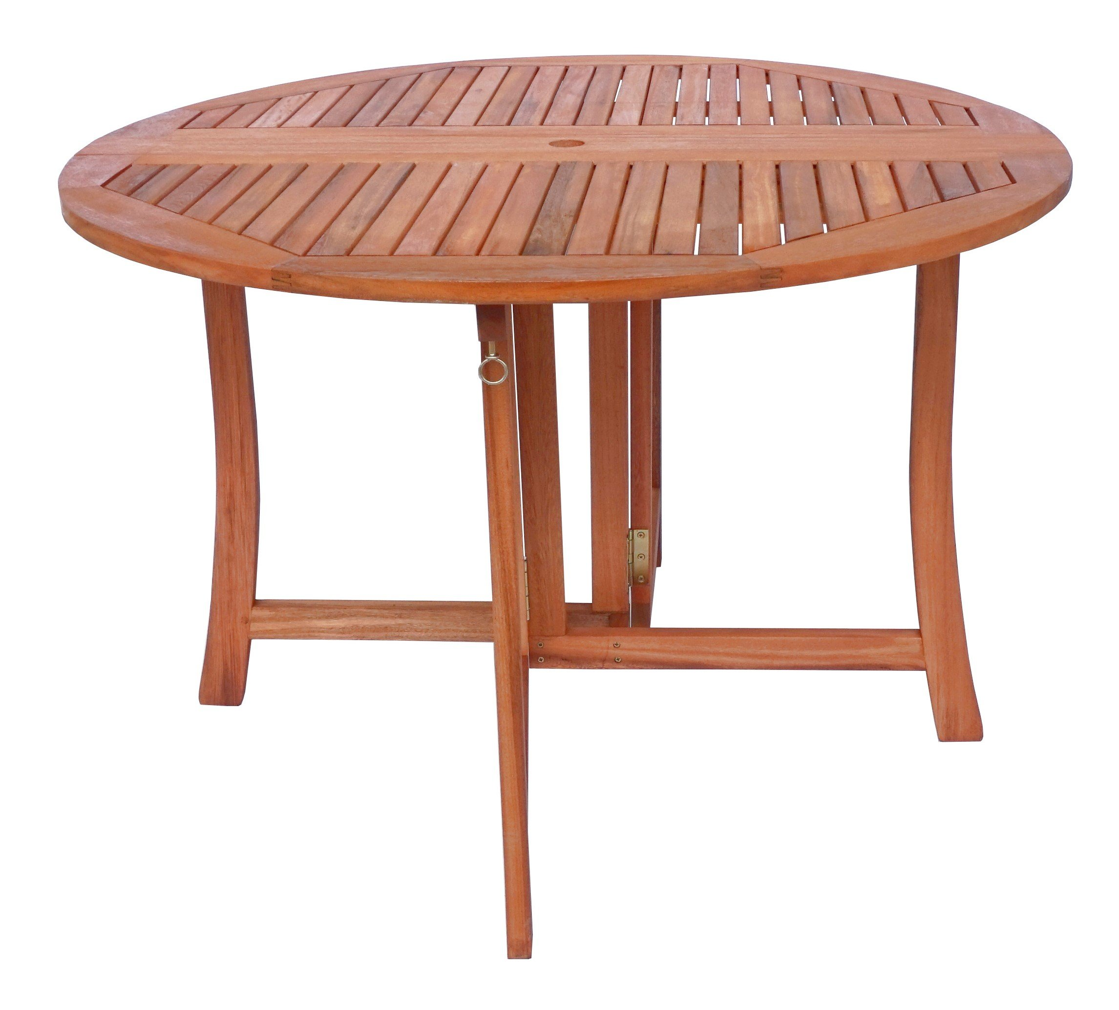 Zen Garden 43 inch Eucalyptus Foldable Deck Table, Natural Wood Finish