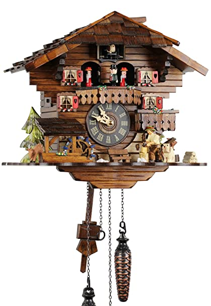 Selva NEGRA uhrenfabrik kammerer reloj de madera con mecanismo de pilas con cuco y música mecanismo