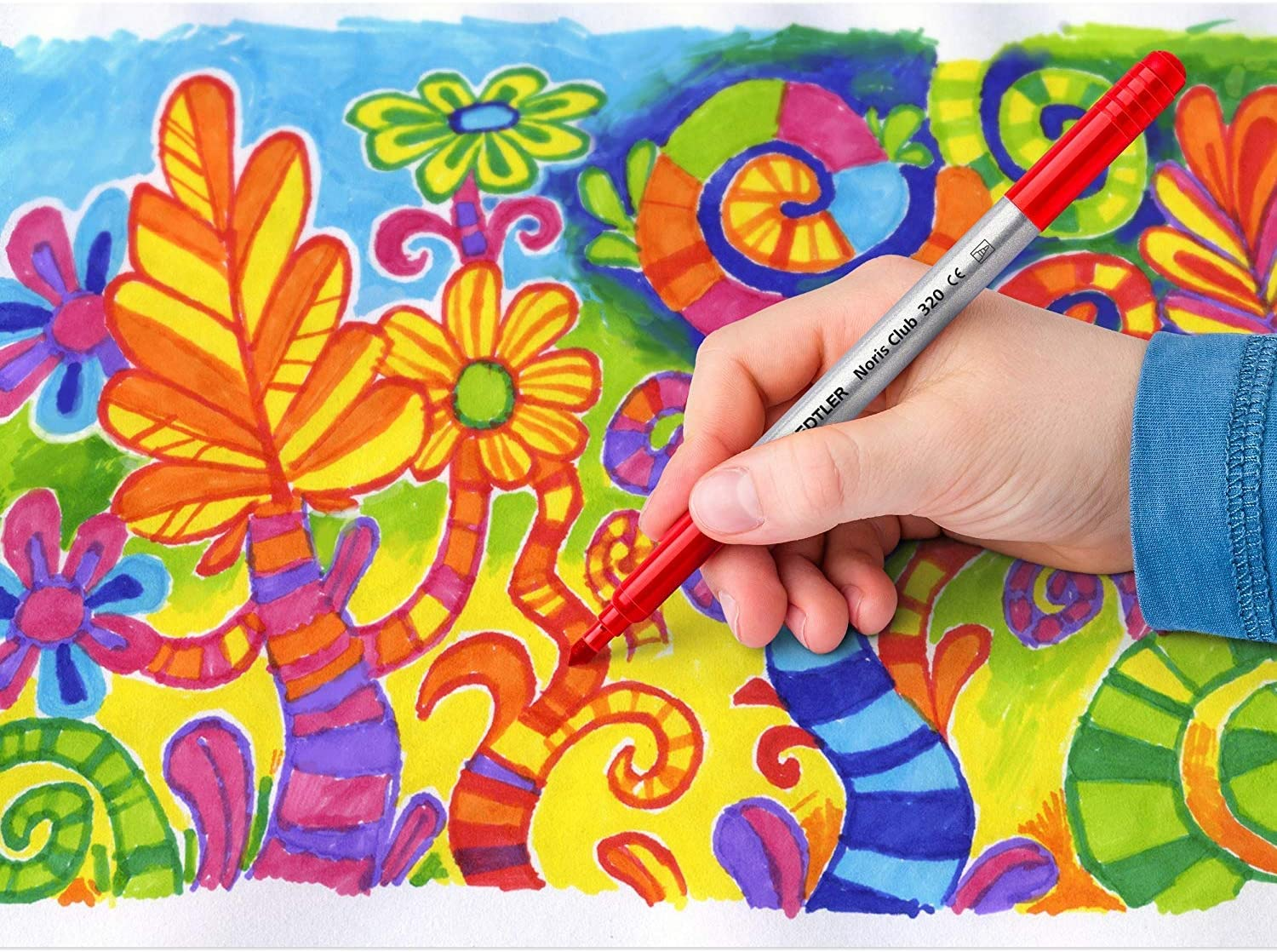 wallet of 12 colors Dual fine /& broad tip coloring pens Staedtler duo tips washable markers