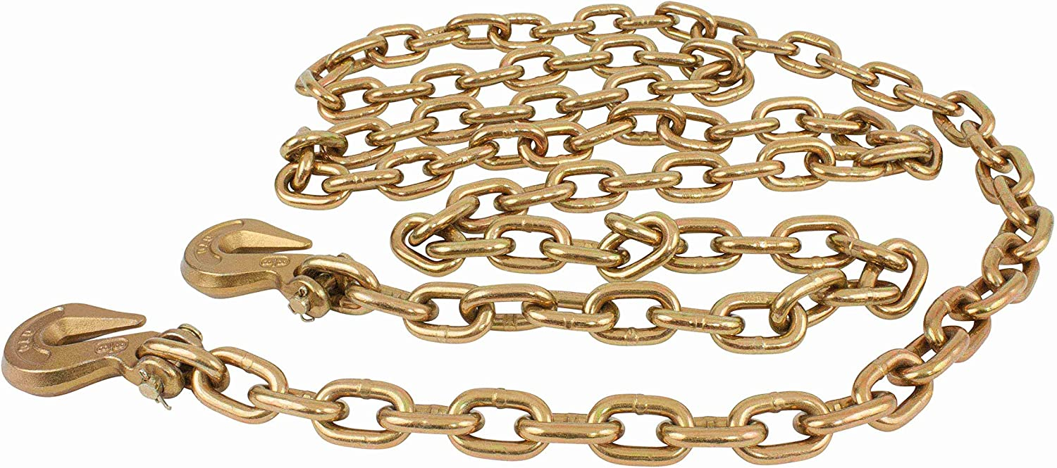 2 Pack Plain on One End Mytee Products 5//16 x 6 G70 Tow Chain w//RTJ /& Grab Hook w//Enlarged Links
