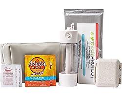 Portable Bidet Kit with Nozzle, Skin Protectant Wipes, Fiber Packets, Anti-Diarrhea Diotame Packets, PillBox & Discreet Bag -