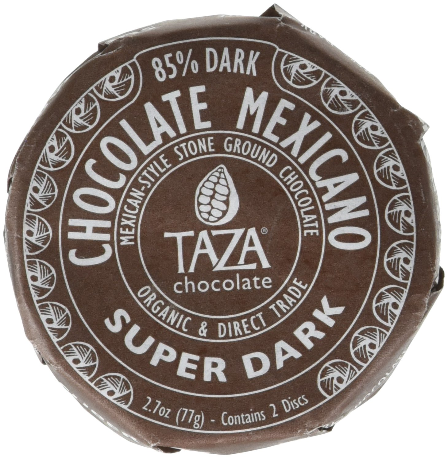 Taza Organic Chocolate Mexicano Super Dark Disc 85% Dark, 2.7 oz
