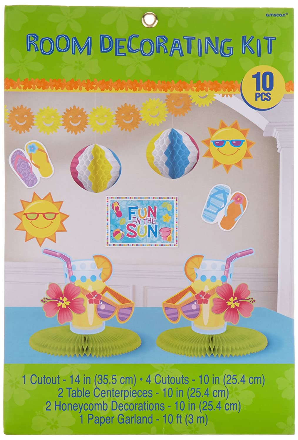 ea0a849679cf8 Amscan Sun-Sational Summer Luau Fun in The Sun Beach Decorating Kit (10  Piece)