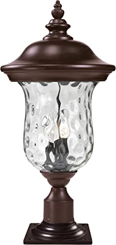 Z-Lite 533PHB-533PM-RBRZ Armstrong Outdoor Post Mount Light, Aluminum Frame, Bronze Finish and Clear Water Glass Shade of Glass Material