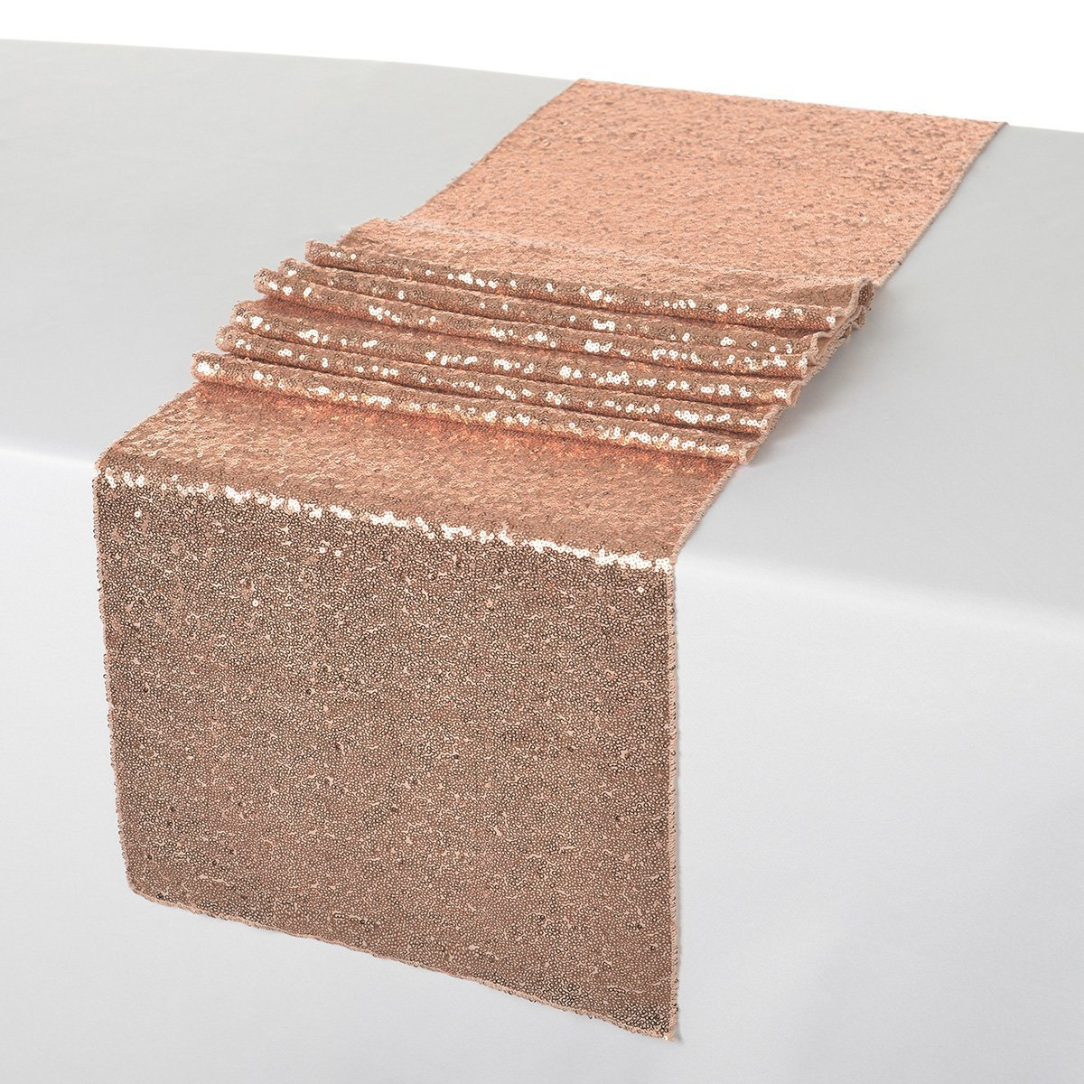 ShinyBeauty 12x108-Inch Sequin Table Runner Rose Gold-12 Pieces, Sparkly Table Runner Linen