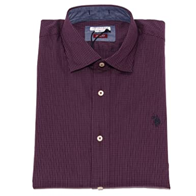 3676K Camicia uomo U.S. POLO ASSN. Slim FIT Purple Shirt Cotton ...