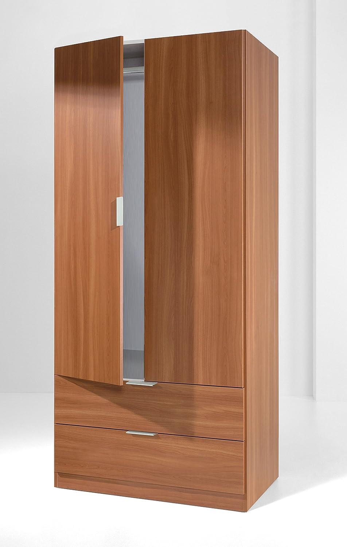 Armario ropero color cerezo con 2 puertas, 2 cajones y barra para ...