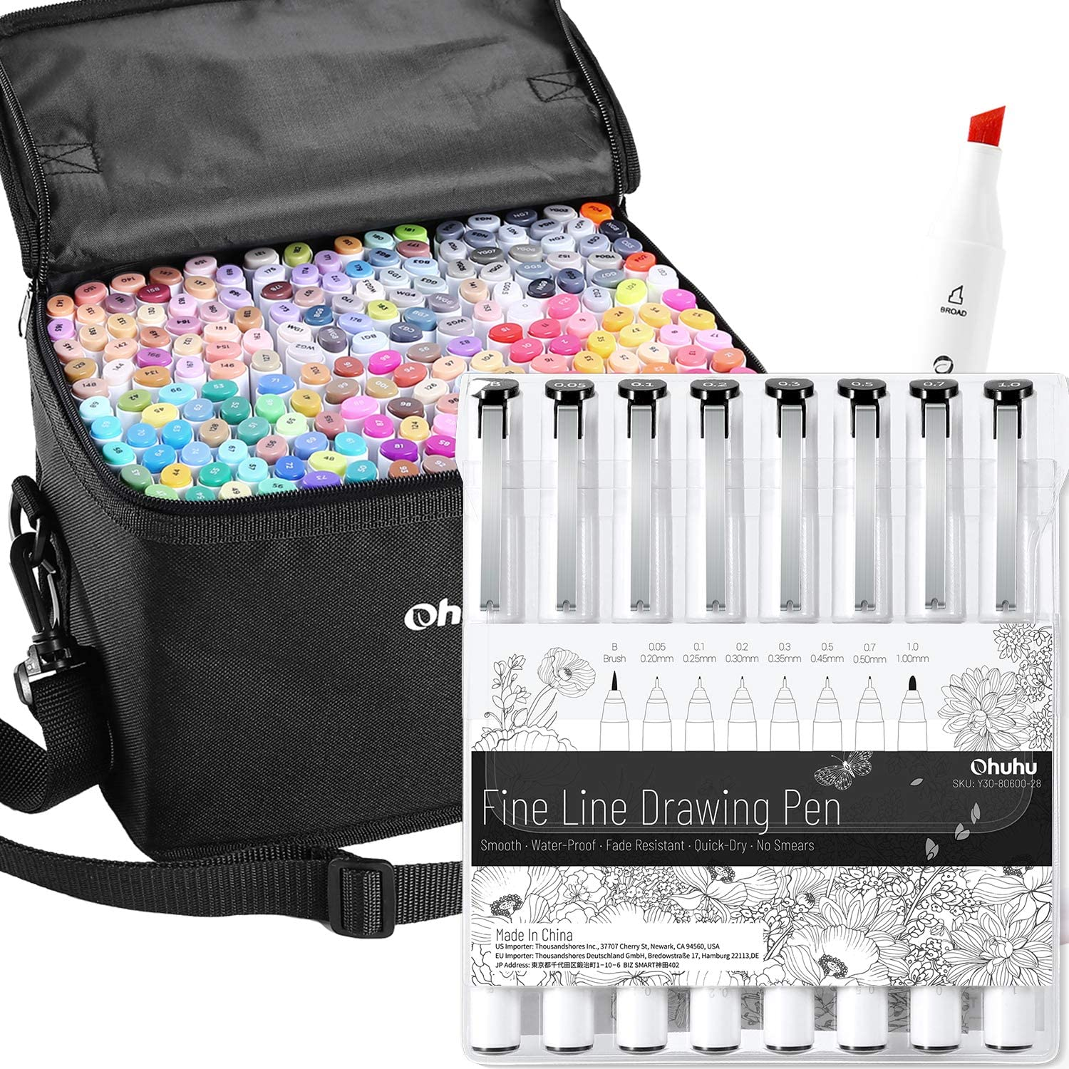 Ohuhu 200 Colors Alcohol Art Markers (Fine & Chisel, Bonus 1 Colorless Blender) + 8Pack Fineline Pens