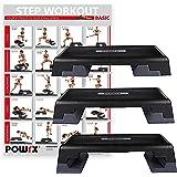 POWRX Profi Aerobic Fitness Step inkl. Workout I Steppbrett Stepper Stepbench I Maße: 89 cm x 34 cm x Höhe bis max. 25 cm verstellbar