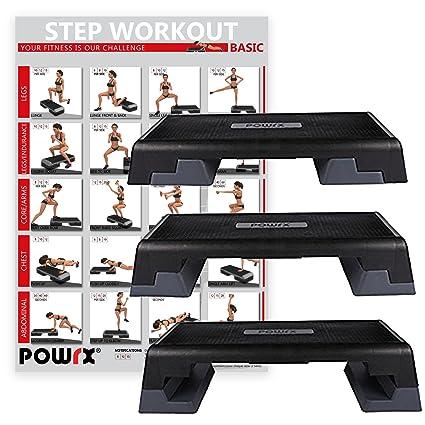 Steppbrett PROFI XXL Füße inkl Workout Fitness Set Aerobic Stepbench 110 x 42cm