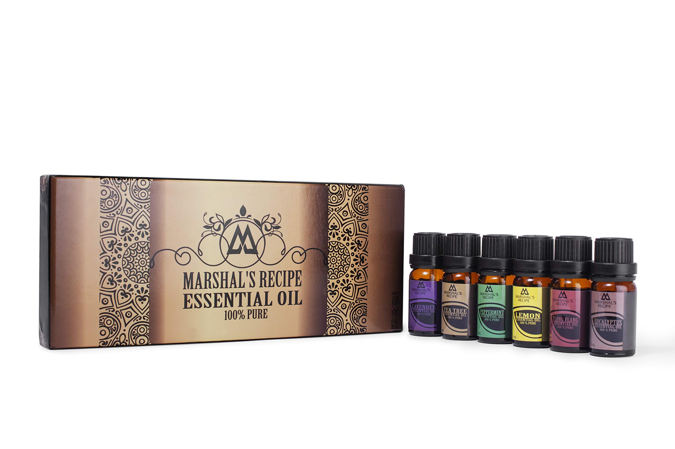 Marshal\'s Recipe Organic Essential Oil Kit (6 x10ml) - Six Aromas of The Highest Quality Tea Tree, Eucalyptus, Lavender, Ylang Ylang, Lemon and Peppermint