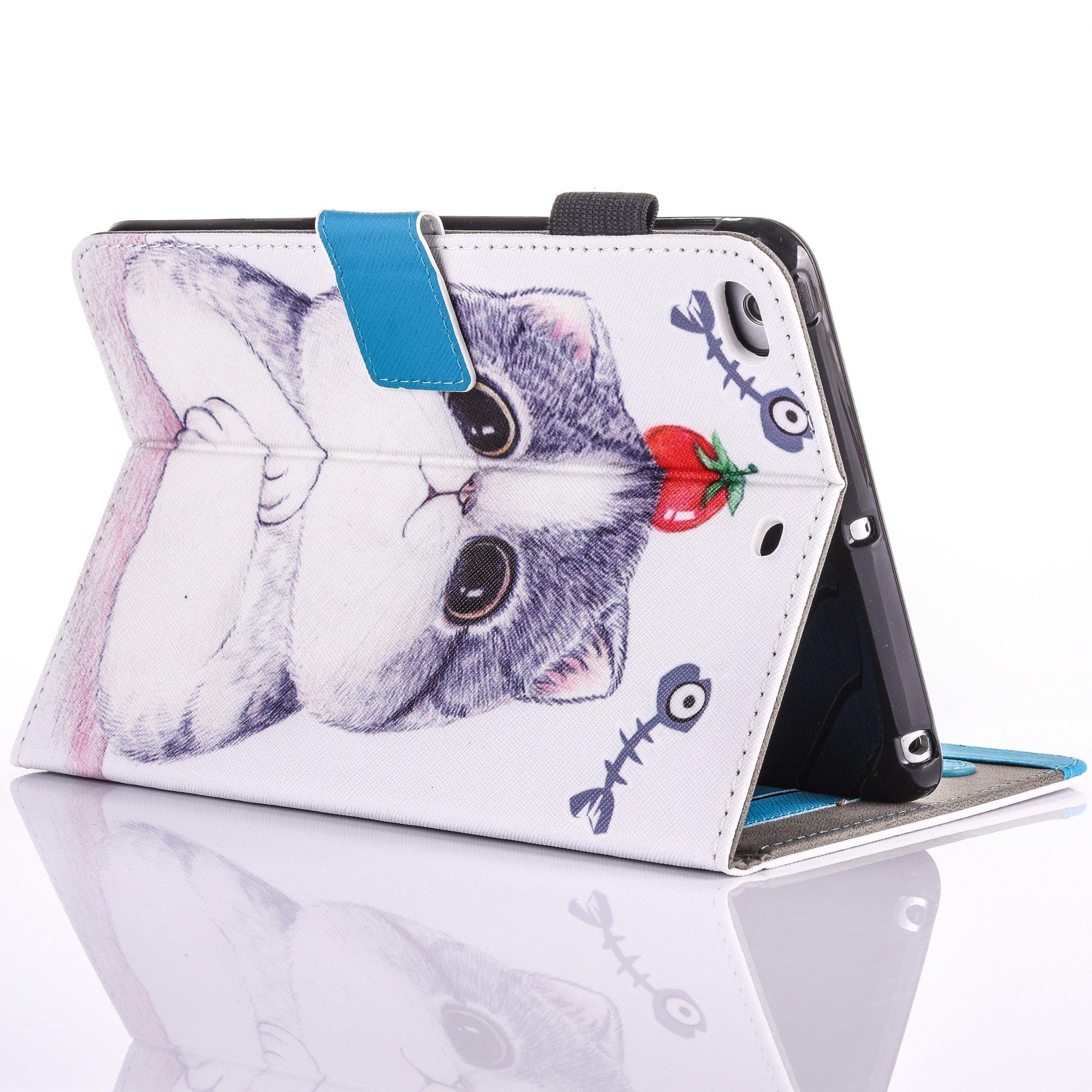 iPad Air 2/iPad Air/iPad 9.7 inch 2017 Case, PU Leather Folio [Anti-Slip] Cover with [Magnetic Closure] [Cards Slots] Auto Sleep/Wake for Apple iPad 9.7 2017/iPad Air 1&2 (iPad 5&6), Sketch Cat by Wallace Elec (Image #7)