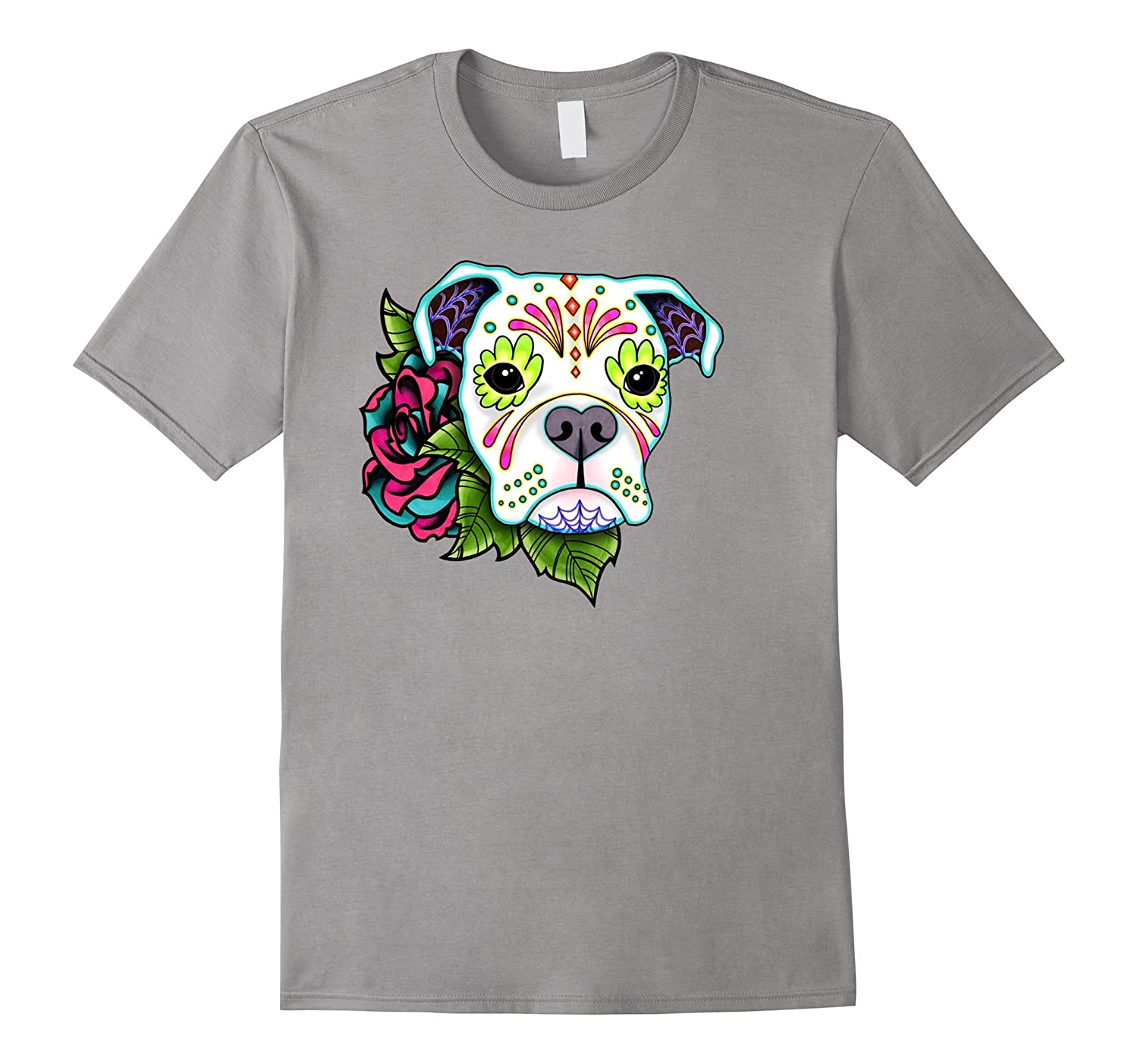 Boxer in White – Day of the Dead Sugar Skull Dog-Veotee