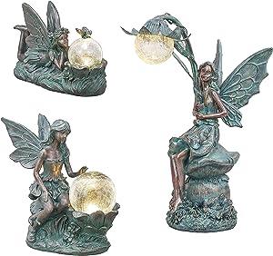 TERESA'S COLLECTIONS Large Solar Fairy Garden Statue and Sculpture Bundle (3PCS) | Bronze Fairy Garden Statue and Sculpture with Solar Powered Lights for Patio, Lawn, Yard Decorations