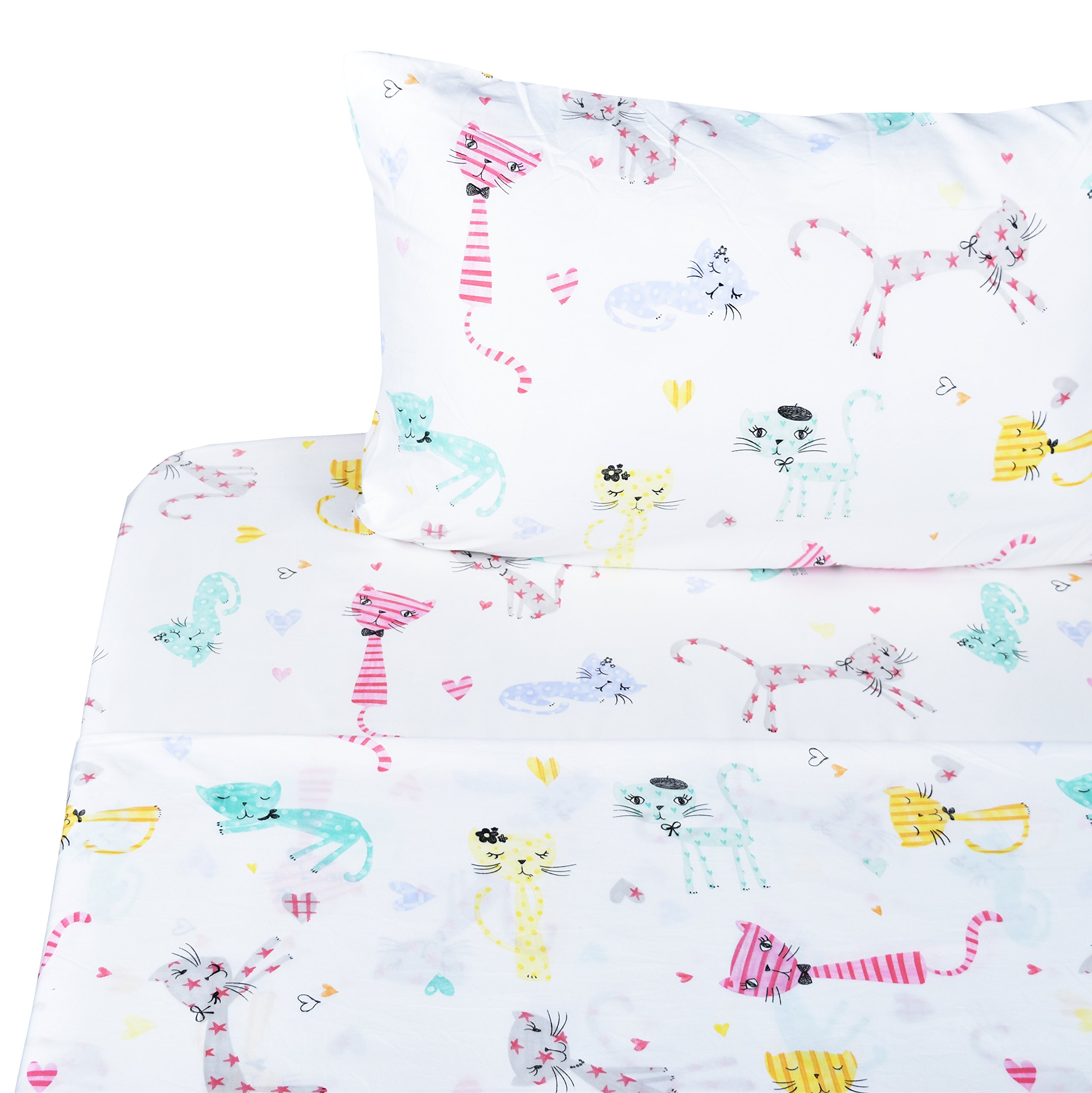 Scientific Sleep Cute Kitty Cats Soft Sheets Set Full, 100% Microfiber Polyester Bedding Sheet Set for Girls Gift (6, Full)