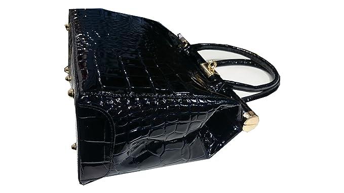 777da59957 VANITY- SAC A MAIN cuir véritable vernis/ Sac en cuir façon CROCO NOIR:  Amazon.fr: Bagages