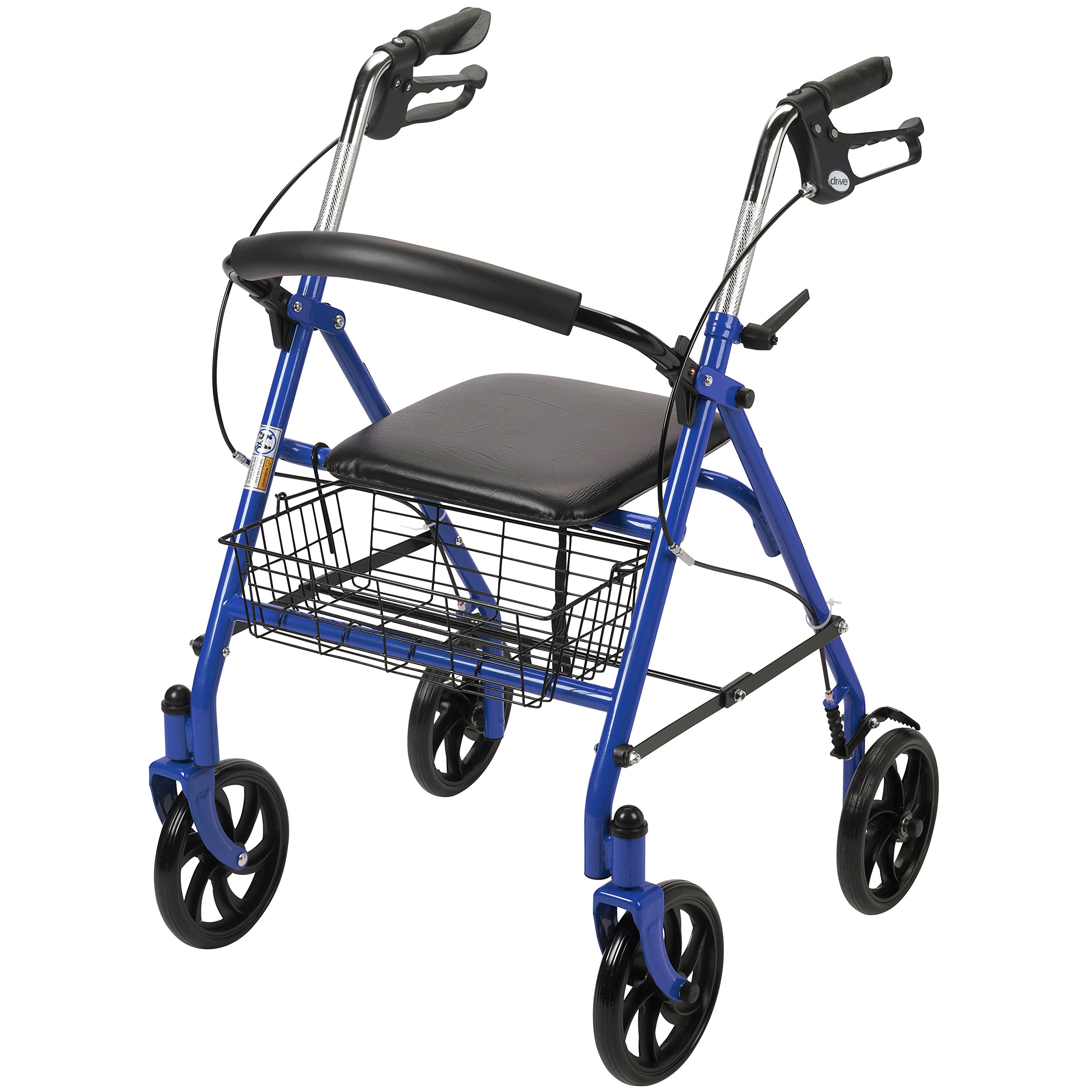 Drive Medical Four Wheel Walker Rollator with Fold Up Removable Back Support by Drive Medical