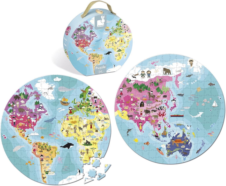 Janod - Maleta puzzle de 208 piezas niños y animales del mundo (J02926)