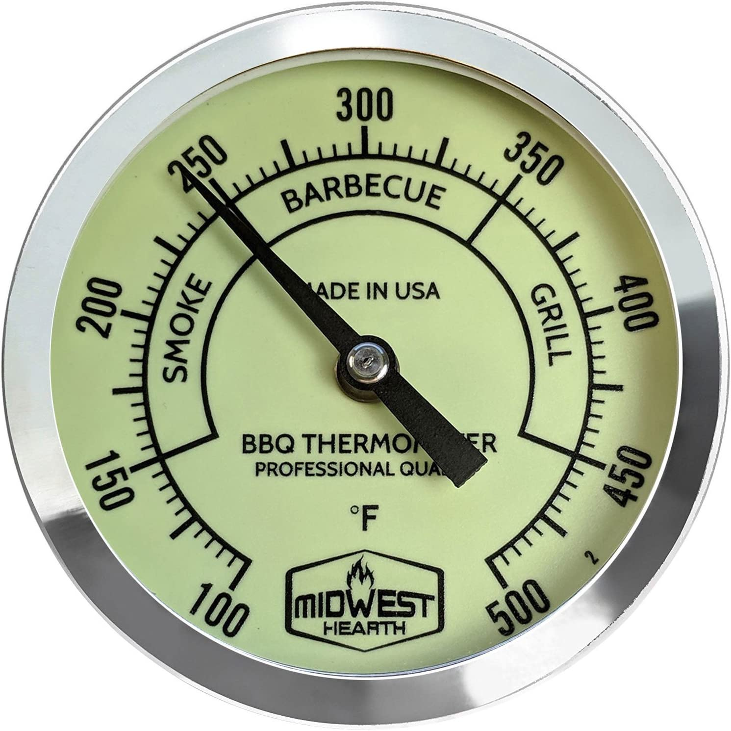 """Midwest Hearth BBQ Smoker Thermometer for Barbecue Grill, Pit, Barrel 3"""" Dial (2.5"""" Stem Length, Glow Dial)"""