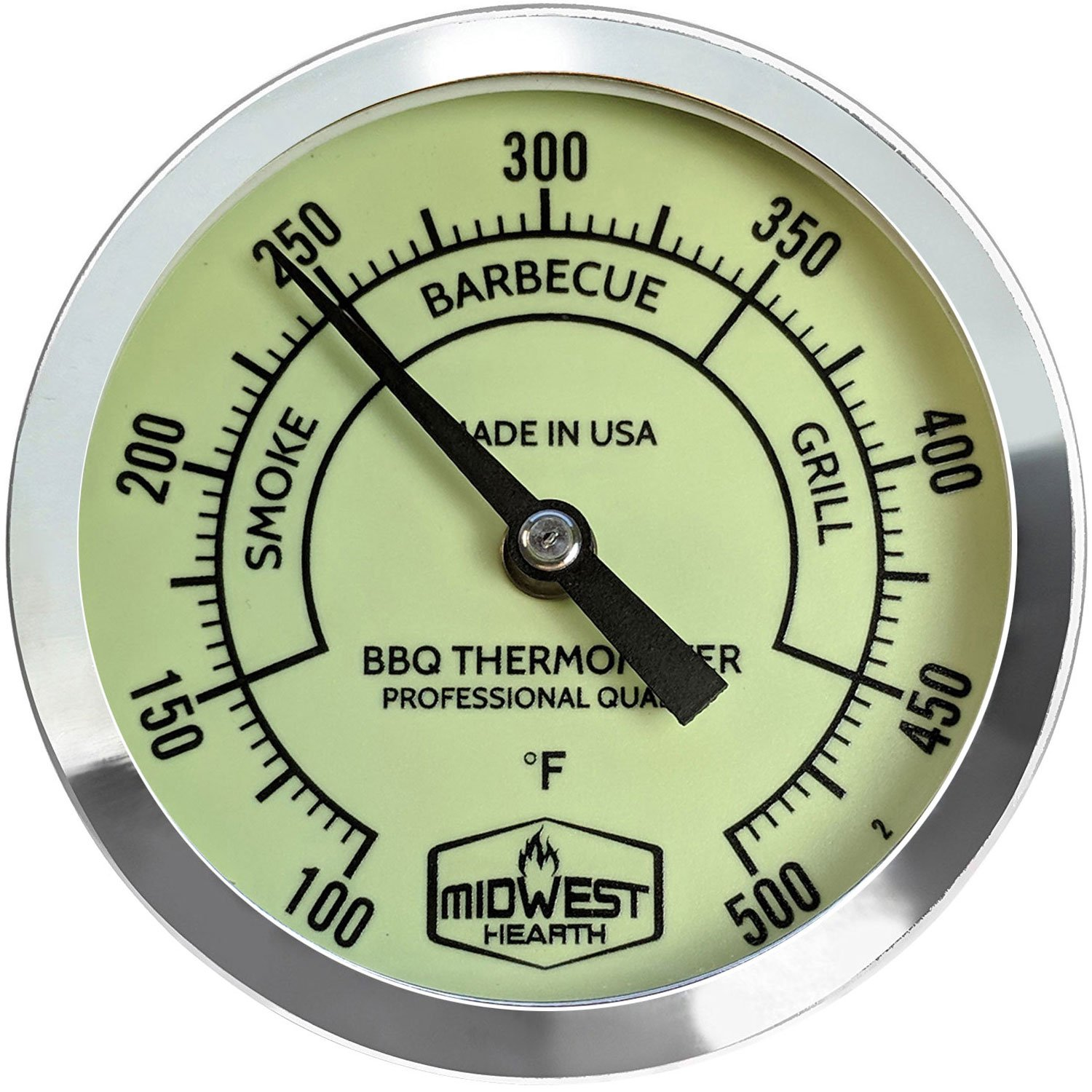 Midwest Hearth BBQ Smoker Thermometer for Barbecue Grill, Pit, Barrel 3'' Dial (4'' Stem Length, Glow Dial) by Midwest Hearth