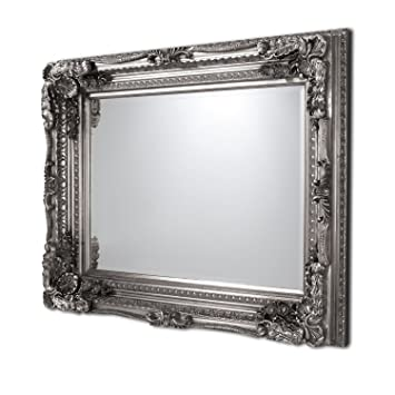 Carved Louis Mirror Silver Frame Wall Hallway Living Room