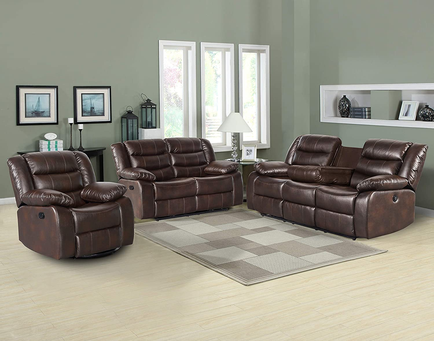 3PC Adeline Mid Century Modern Leatherette 3 Piece Living Room Reclining Set, Brown