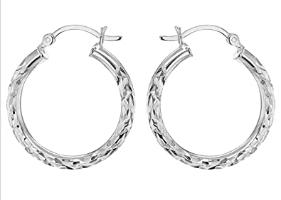 Adara Silver Diamond Cut Twist Oval Creole Earrings VGnHtOxypa