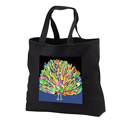 3dRose Florene Abstract Watercolors - Image Of Painted Multi Color Peacock On Black and Blue - Tote Bags