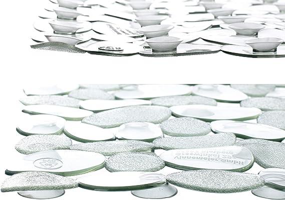 Brandsseller-Tappetino per Vasca da Bagno Antiscivolo in Effetto Pietra Nero 70x35cm