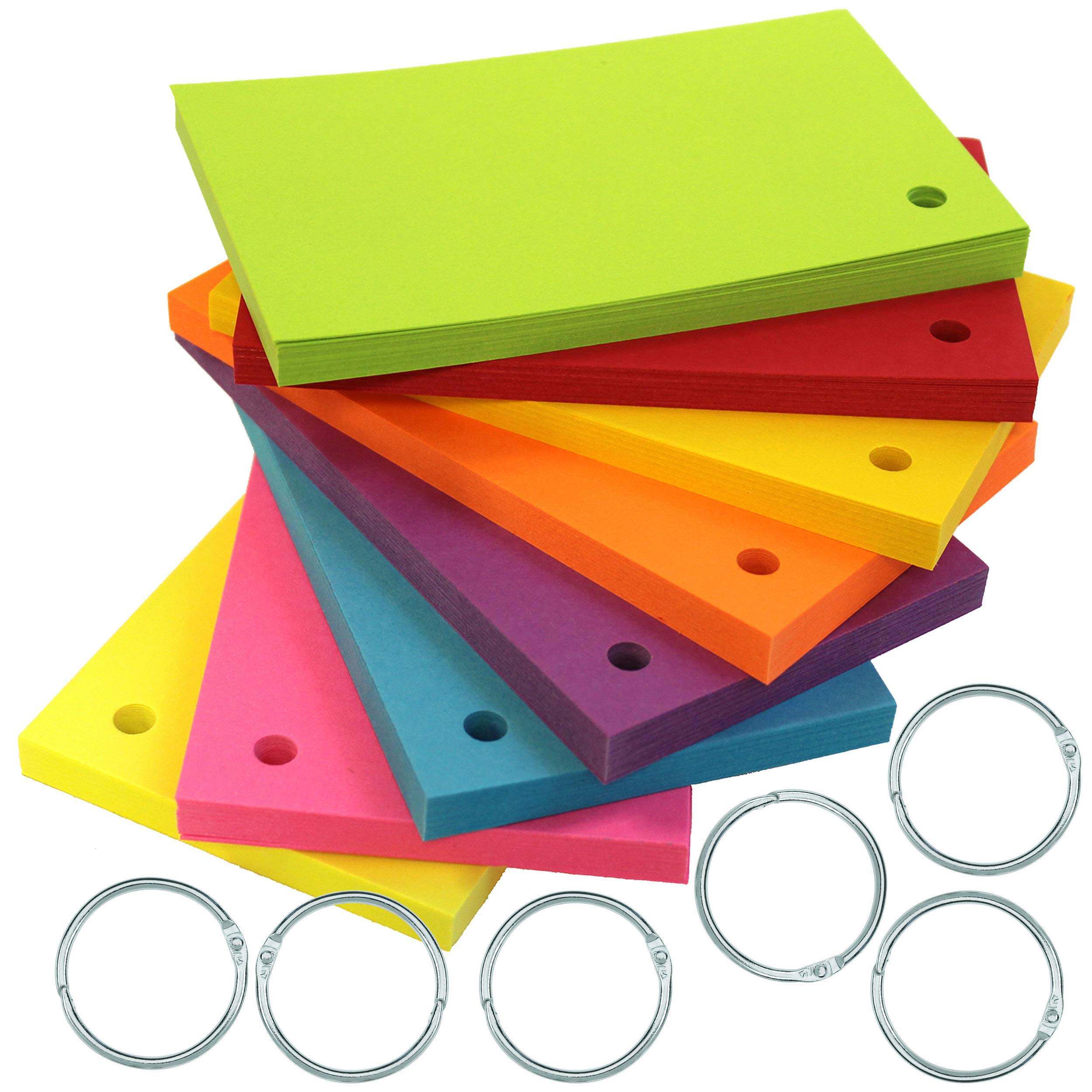 Debra Dale Designs 3'' x 5'' Astrobright Heavy 100# Card Stock - Single Hole Punched with 6 Metal Binder Rings - 160 Cards - 20 Cards in 8 Colors - More Color Choices for Organization of Studying.