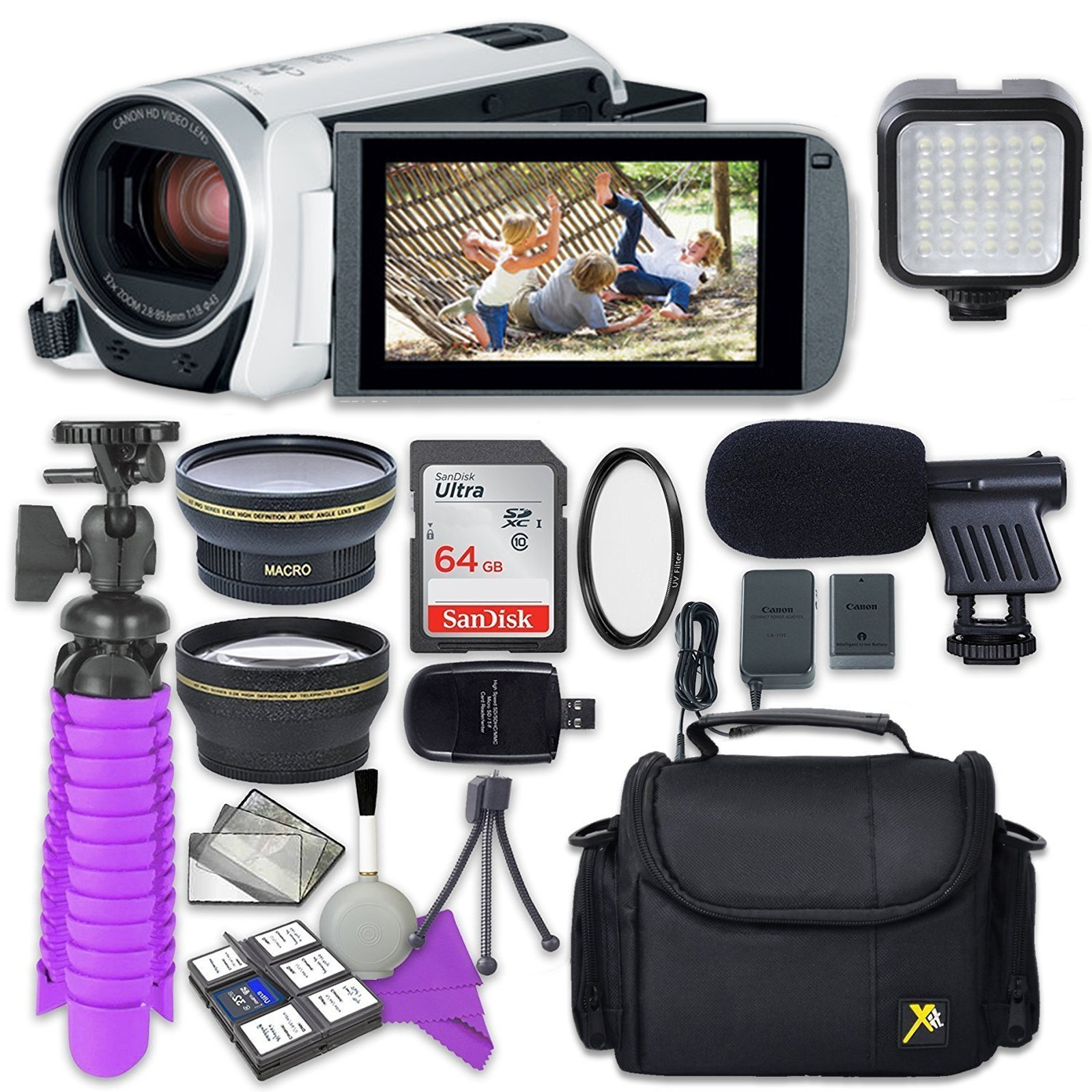 Canon VIXIA HF R800 Camcorder (White) with Sandisk 64 GB SD Memory Card + 2.2X Telephoto Lens + 0.42x Wideangle Lens + Video Accessory Bundle by Canon