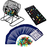 Deluxe Bingo Game Set, Rally and Roar - Portable 6in Metal Cage - Complete Kit with Instructions - Calling Board, 75 Colored Balls, 300 Bingo Chips and 50 Cards - Premium Family Games and Accessories