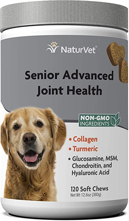 NaturVet Senior Advanced Joint Health Dog Supplement – Includes Glucosamine, MSM, Chondroitin, Collagen – Helps Supports Canine Joint Health Function – 120 Ct. Soft Chews